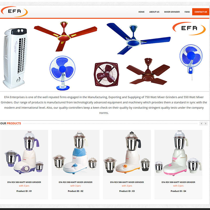 Attractive Fans & Mixer Grinder / Website Design & Development