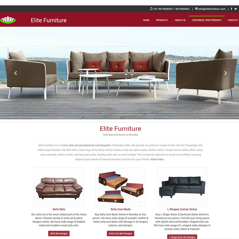 Sofa Furniture / Website Design & Development